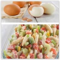 Salades, eieren gekoeld