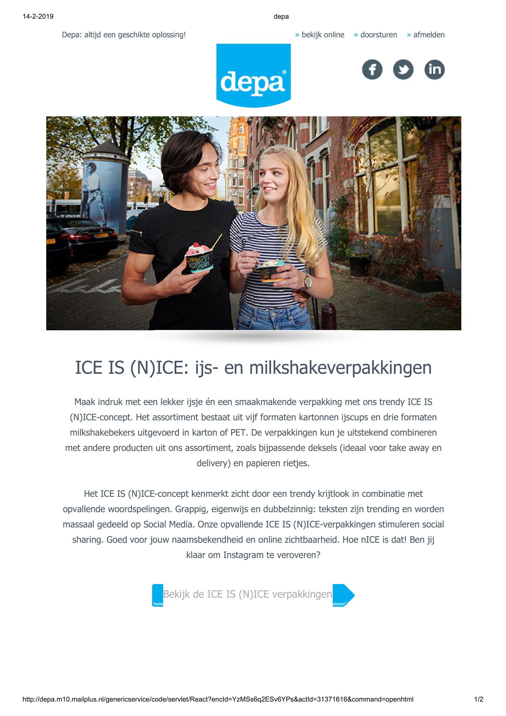 NIC ijs en milkshake verpakkingen